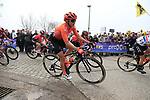 Valerie Demey (BEL) CCC Liv on the Padderstraat during the Women Elite 2019 Ronde Van Vlaanderen Dames running 150km from Oudenaarde to Oudenaarde, Belgium. 7th April 2019.<br /> Picture: Eoin Clarke   Cyclefile<br /> <br /> All photos usage must carry mandatory copyright credit (&copy; Cyclefile   Eoin Clarke)