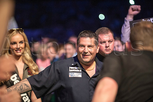 09.04.2015. Sheffield, England. Betway Premier League Darts. Matchday 10.  Gary Anderson [SCO] arrives on the stage for his game with Dave Chisnall [ENG].
