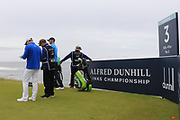Oliver Wilson (ENG) on the 3rd tee during Round 2 of the Alfred Dunhill Links Championship 2019 at Kingbarns Golf CLub, Fife, Scotland. 27/09/2019.<br /> Picture Thos Caffrey / Golffile.ie<br /> <br /> All photo usage must carry mandatory copyright credit (© Golffile | Thos Caffrey)