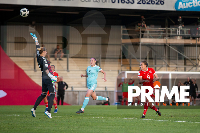 Kayleigh Green of Wales scores her side's second goal during the International World Cup Qualifier match between Wales Women and Russia Women at Rodney Parade, Newport, Wales on 12 June 2018. Photo by Mark  Hawkins.