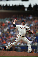 SAN FRANCISCO, CA - AUGUST 9:  Hunter Strickland #60 of the San Francisco Giants pitches against the Chicago Cubs during the game at AT&T Park on Wednesday, August 9, 2017 in San Francisco, California. (Photo by Brad Mangin)