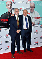 "LOS ANGELES, USA. November 17, 2019: Sir Anthony Hopkins & Jonathan Pryce at the gala screening for ""The Two Popes"" as part of the AFI Fest 2019 at the TCL Chinese Theatre.<br /> Picture: Paul Smith/Featureflash"