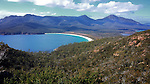 View of Wineglass Bay from lookout in Freycinet National Park, Tasmania, Australia