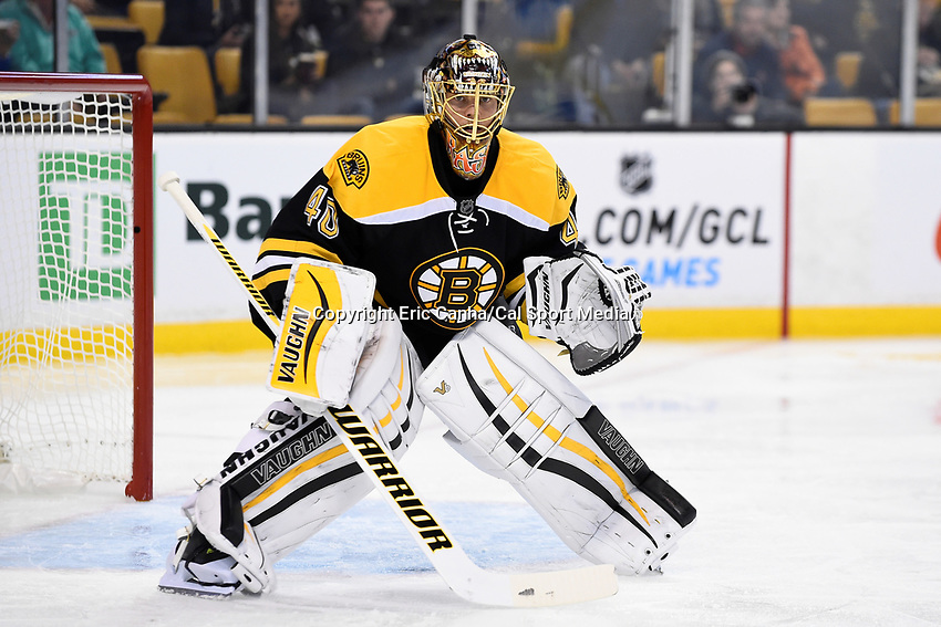 Thursday, October 8, 2015: Boston Bruins goalie Tuukka Rask (40) waits for a face off during the NHL game between the Winnipeg Jets and the Boston Bruins held at TD Garden, in Boston, Massachusetts. Winnipeg defeated Boston 6-2 in regulation time. Eric Canha/CSM