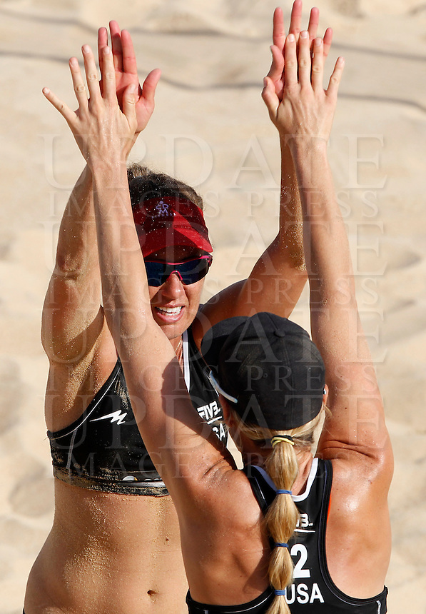 April Ross, left, and Jennifer Kessy celebrate at the Beach Volleyball World Tour Grand Slam, Foro Italico, Rome, 21 June 2013.<br /> UPDATE IMAGES PRESS/Isabella Bonotto
