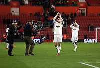 Pictured: Jonjo Shelvey of Swansea celebratingf his team's win at the end of the game Sunday 01 February 2015<br /> Re: Premier League Southampton v Swansea City FC at ST Mary's Ground, Southampton, UK.