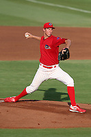 Clearwater Threshers pitcher pitcher Jonathan Pettibone #34 delivers a pitch during a game against the Daytona Cubs at the Brighthouse Stadium on June 23, 2011 in Clearwater, Florida.  (Mike Janes/Four Seam Images)