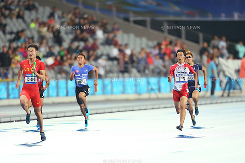 Kei Takase (JPN),  <br /> OCTOBOR 2, 2014 - Athletics : <br /> Men's 4x100m Relay <br /> at Incheon Asiad Main Stadium <br /> during the 2014 Incheon Asian Games in Incheon, South Korea. <br /> (Photo by Yohei Osada/AFLO SPORT)