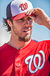 5 March 2013: Washington Nationals pitcher Dan Haren adjusts his cap during a Spring Training game against the Houston Astros at Space Coast Stadium in Viera, Florida. The Nationals defeated the Astros 7-1 in Grapefruit League play. Mandatory Credit: Ed Wolfstein Photo *** RAW (NEF) Image File Available ***