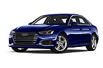Stock pictures of low aggressive front three quarter view of a 2020 Audi A4 Advanced 4 Door Sedan