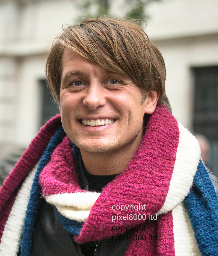 Pic shows: Take That leave at BBC Radio studios today for the launch of their new single  16.10.15<br /> <br /> Mark Owen with fans poses for selfies<br /> <br /> <br /> Pic by Gavin Rodgers/Pixel 8000 Ltd