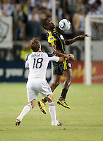 Columbus Crew midfielder Emmanuel Ekpo (17) goes up to play the ball against Galaxy forward Mike Magee (18) during the second half of the game between LA Galaxy and the Columbus Crew at the Home Depot Center in Carson, CA, on September 11, 2010. LA Galaxy 3, Columbus Crew 1.
