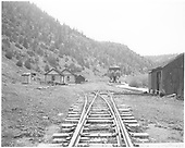 North facing view of Brown station as seen from track center 47 switch points.<br /> RGS  Brown, CO  Taken by Chione, A. G.