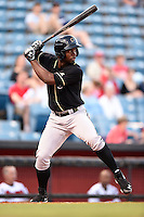 Omaha Storm Chasers outfielder Melky Mesa (22) at bat during a game against the Nashville Sounds on May 19, 2014 at Herschel Greer Stadium in Nashville, Tennessee.  Nashville defeated Omaha 5-4.  (Mike Janes/Four Seam Images)