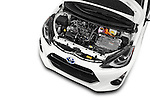 Car Stock 2015 Toyota Prius c Three 5 Door Hatchback Engine high angle detail view