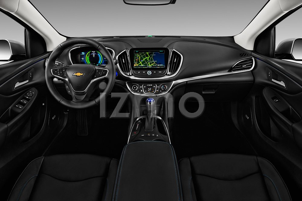 Stock photo of straight dashboard view of 2016 Chevrolet Volt Premier 5 Door Hatchback Dashboard