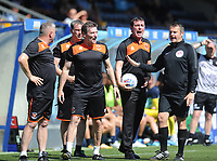 Blackpool manager Gary Bowyer shows his frustration after a foul on Michael Nottingham (not in picture)<br /> <br /> Photographer Kevin Barnes/CameraSport<br /> <br /> The EFL Sky Bet League One - Wycombe Wanderers v Blackpool - Saturday 4th August 2018 - Adams Park - Wycombe<br /> <br /> World Copyright &copy; 2018 CameraSport. All rights reserved. 43 Linden Ave. Countesthorpe. Leicester. England. LE8 5PG - Tel: +44 (0) 116 277 4147 - admin@camerasport.com - www.camerasport.com