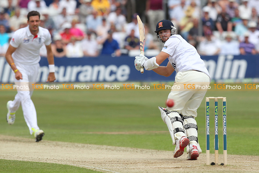 Jaik Mickleburgh sends the bowling of Steven Finn to the boundary for four runs - Essex CCC vs England - LV Challenge Match at the Essex County Ground, Chelmsford - 01/07/13 - MANDATORY CREDIT: Gavin Ellis/TGSPHOTO - Self billing applies where appropriate - 0845 094 6026 - contact@tgsphoto.co.uk - NO UNPAID USE
