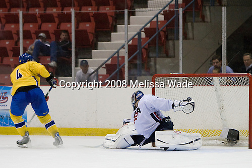 Victor Hedman (Sweden 4), Brandon Maxwell (US White - 35) -  Team Sweden defeated Team USA White 7-3 on Friday, August 8, 2008, in the 1980 Rink during the 2008 US National Junior Evaluation Camp and Summer Hockey Challenge in Lake Placid, New York.