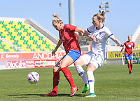20190301 - LARNACA , CYPRUS : Finnish Sanni Franssi (r) pictured in a duel with Czech Petra Bertholdova (left) during a women's soccer game between Finland and Czech Republic , on Friday 1 March 2019 at the AEK Arena in Larnaca , Cyprus . This is the second game in group A for Both teams during the Cyprus Womens Cup 2019 , a prestigious women soccer tournament as a preparation on the Uefa Women's Euro 2021 qualification duels. PHOTO SPORTPIX.BE | DAVID CATRY