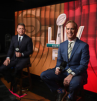 MIAMI, FL - FEBRUARY 2: (L-R) Lead NFL Game Analyst Troy Aikman and Lead NFL, MLB & USGA Play-By-Play Announcer Joe Buck at the Fox Sports broadcast of Super Bowl LIV at Hard Rock Stadium on February 2, 2020 in Miami, Florida. (Photo by Frank Micelotta/Fox Sports/PictureGroup)