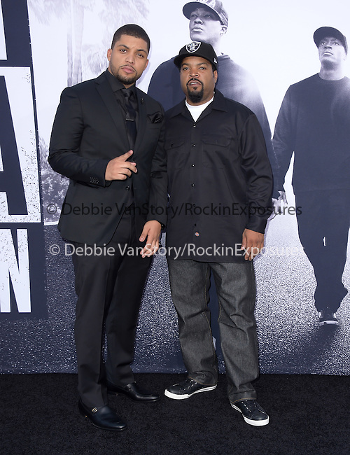 O'Shea Jackson Jr. and Ice Cube  attends The Universal Pictures' STRAIGHT OUTTA COMPTON World Premiere held at The Microsoft Theatre  in Los Angeles, California on August 10,2015                                                                               © 2015 Hollywood Press Agency