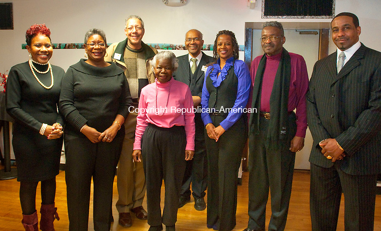 WATERBURY, CT, 16 FEBRUARY 2011-021611JS18-Members of the African-American Mayor of the Day Committee, from left,  Carolyn Highsmith, Barbara P. Jones, Sam Beamon, Mildred Paris, Rev. Thomas Mallory, Vernecia Gatling, Elmore Shell and Clifton Petteway at the reception for Dr. James H. Gatling Waterbury African-American Mayor of the Day at the Goodwill Lodge of Elks #1325 in Waterbury. <br />  Jim Shannon Republican-American