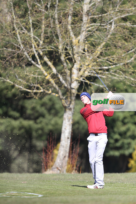 Darragh Flynn (Carton House) on the 4th during the 3rd Round of the Munster Youths Amateur Open Championship 2013 at Ennis Golf Club, Co.Clare, 04/04/2013...(Photo Jenny Matthews/www.golffile.ie)