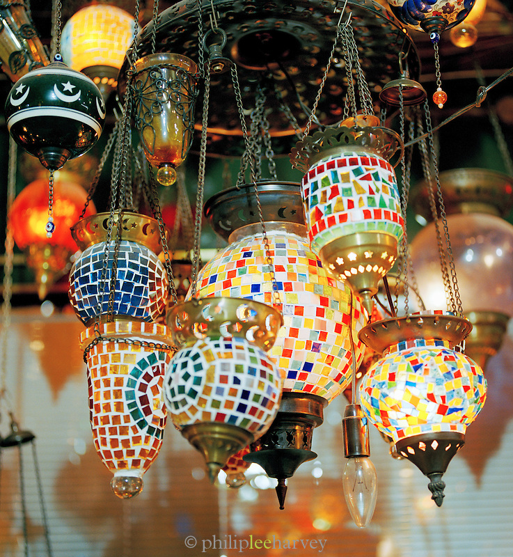 Lanterns for sale at a stall in Istanbul, Turkey