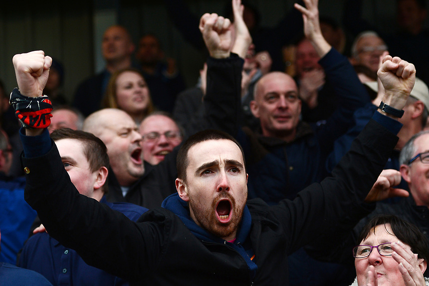 Bolton fans celebrate<br /> <br /> Photographer Richard Martin-Roberts/CameraSport<br /> <br /> The EFL Sky Bet League One - Fleetwood Town v Bolton Wanderers - Saturday 11th March 2017 - Highbury Stadium - Fleetwood<br /> <br /> World Copyright &copy; 2017 CameraSport. All rights reserved. 43 Linden Ave. Countesthorpe. Leicester. England. LE8 5PG - Tel: +44 (0) 116 277 4147 - admin@camerasport.com - www.camerasport.com