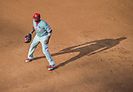 6 September 2014: Philadelphia Phillies first baseman Ryan Howard in action against the Washington Nationals at Nationals Park in Washington, DC. The Nationals fell to the Phillies 3-1 in the second game of their 3-game series. Mandatory Credit: Ed Wolfstein Photo *** RAW (NEF) Image File Available ***