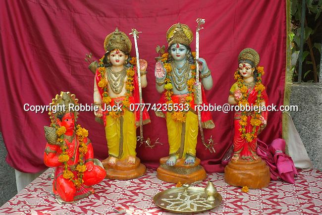 Temporary shrine in the Paharganj district of New Delhi, India.