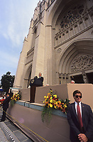 Washington DC., USA, September 29, 1990<br /> President George H.W. Bush presides over the final stone being laid in place at the National Cathedral. The official title is Cathedral Church of St. Peter and St. Paul. Taking 83 years from it's start to today. Credit: Mark Reinstein/MediaPunch