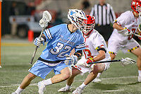 College Park, MD - April 27, 2019: John Hopkins Bluejays attack Joey Epstein (32) in action during the game between John Hopkins and Maryland at  Capital One Field at Maryland Stadium in College Park, MD.  (Photo by Elliott Brown/Media Images International)