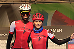 Teniel Campbell and Alexi Costa of Trinidad and Tobago at sign on for the start of the Women Elite Road Race of the UCI World Championships 2019 running 149.4km from Bradford to Harrogate, England. 28th September 2019.<br /> Picture: Eoin Clarke | Cyclefile<br /> <br /> All photos usage must carry mandatory copyright credit (© Cyclefile | Eoin Clarke)
