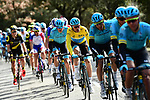 The peleton with Astana Pro Team and race leader Yellow Jersey Luis Leon Sanchez (ESP) on the front during Stage 5 running 165km from Salon-de-Provence to Sisteron, France. 8th March 2018.<br /> Picture: ASO/Alex Broadway | Cyclefile<br /> <br /> <br /> All photos usage must carry mandatory copyright credit (&copy; Cyclefile | ASO/Alex Broadway)
