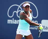 MIAMI GARDENS, FLORIDA - MARCH 21: Cori Gauff during day four of the Miami Open tennis on March 21, 2019 in Miami Gardens, Florida.<br /> <br /> People: Cori Gauff