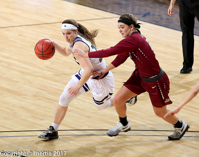 SIOUX FALLS, SD: MARCH 7: Taylor Higginbotham #24 from Western Illinois tries to get a step around Caitlyn Tolen #12 from IUPUI during the Women's Summit League Basketball Championship Game on March 7, 2017 at the Denny Sanford Premier Center in Sioux Falls, SD. (Photo by Dave Eggen/Inertia)