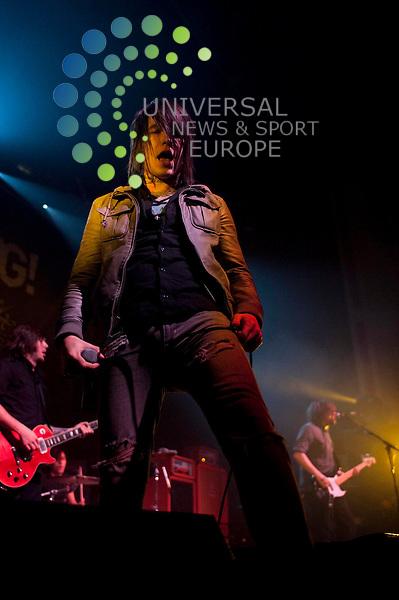 Kenneth Nixon of Framing Hanley play the O2 Academy in Glasgow as part of the 2011 Kerrang! Relentless Energy Drink Tour...O2 ABC, Glasgow , Scotland .  Picture: Euan Anderson/Universal News And Sport (Scotland) 16th December 2010.