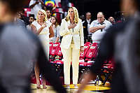College Park, MD - NOV 13, 2017: Maryland Terrapins head coach Brenda Frese stands for the National Anthem before game between No. 4 ranked South Carolina and the No. 15 Maryland Terrapins at the XFINITY Center in College Park, MD. The Gamecocks defeated Maryland 94-86.  (Photo by Phil Peters/Media Images International)