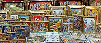 Religious pictures of Lord Shiva and wife Parwati on sale by the Golden Temple in holy city of Varanasi, India