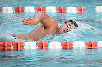 Matt Weiser '18 competes in the men's 1000 yard freestyle. The Occidental College swim team competes against Lewis & Clark College and Westminster College in Taylor Pool on Jan. 6, 2015. (Photo by Marc Campos, Occidental College Photographer)