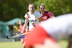Mannheim, Germany, April 18: During the 1. Bundesliga Damen match between TSV Mannheim (white) and Mannheimer HC (red) on April 18, 2015 at TSV Mannheim in Mannheim, Germany. Final score 1-7 (1-4). (Photo by Dirk Markgraf / www.265-images.com) *** Local caption *** Laura Keibel #17 of TSV Mannheim, Laura Bassemir #25 of Mannheimer HC