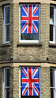 Union Jacks, bunting and other decoration to commemorate the VE Day 75th anniversary during the lockdown restrictions of the coronavirus COVID-19 pandemic. It is 75 years since Victory in Europe over the Germans was announced during World War Two. Bedford, UK on March 8th 2020<br /> <br /> Photo by Keith Mayhew