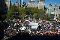 NEW YORK, NY - MAY 01: People take part  during a march in Union Square park as part of May Day rallies on May 1, 2013 in New York City. Rallies and marches are occuring throughout the city today to mark the day which is traditionally associated with workers movements. (Photo by Kena Betancur).