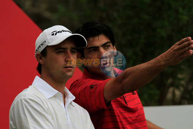 Rafa Echenique and his caddy wait to tee off on the 10th tee to start his round during Thusday Day 1 of the Abu Dhabi HSBC Golf Championship, 20th January 2011..(Picture Eoin Clarke/www.golffile.ie)
