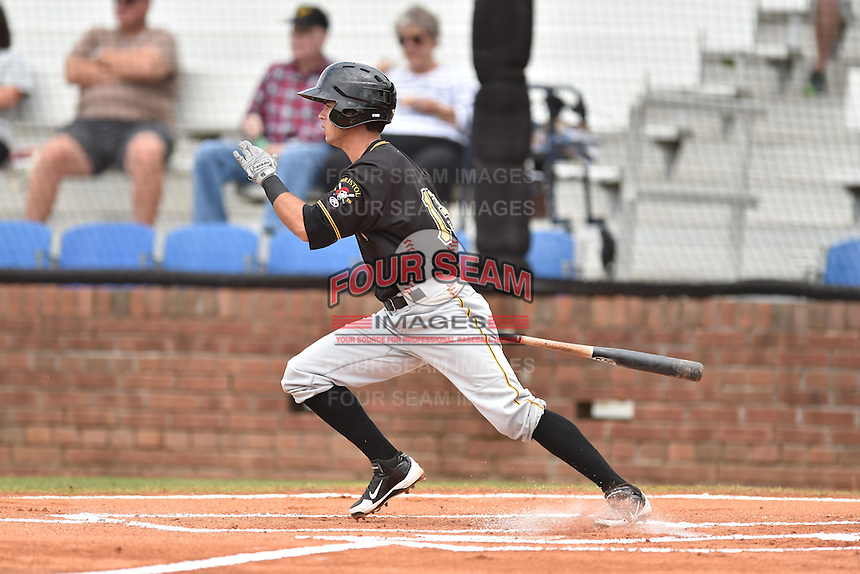 Bristol Pirates center fielder Edgar Figueroa #13 swings at a pitch during a game against the Johnson City Cardinals at Howard Johnson Field July 20, 2014 in Johnson City, Tennessee. The Pirates defeated the Cardinals 4-3. (Tony Farlow/Four Seam Images)