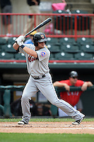 Binghamton Mets third baseman Dustin Lawley (24) at bat during a game against the Erie Seawolves on July 13, 2014 at Jerry Uht Park in Erie, Pennsylvania.  Binghamton defeated Erie 5-4.  (Mike Janes/Four Seam Images)