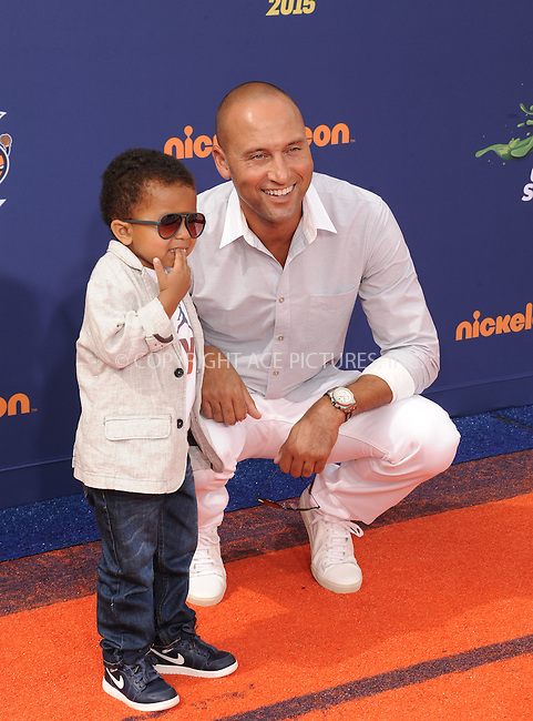 WWW.ACEPIXS.COM<br /> <br /> July 16 2015, LA<br /> <br /> Baseball player Derek Jeter and his son Jalen Jeter arriving at the Nickelodeon Kids' Choice Sports Awards 2015 at UCLA's Pauley Pavilion on July 16, 2015 in Westwood, California.<br /> <br /> By Line: Peter West/ACE Pictures<br /> <br /> <br /> ACE Pictures, Inc.<br /> tel: 646 769 0430<br /> Email: info@acepixs.com<br /> www.acepixs.com
