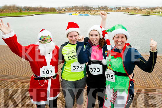 Joan Keane and Muireann Dowling (Listowel) with Ciara O'Sullivan and Nuala Horgan (Finuge), who  took part in the Santa Run at Tralee Bay Wetlands on Sunday morning last.